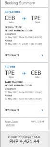 セブパシフィックホームページから入手したセブ-台北往復間フライトスケジュール及び運賃
