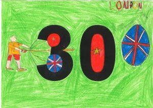30とクレヨンで書いた子供の絵