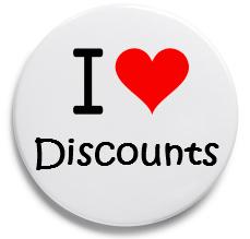 I love discountsと書かれたワッペン
