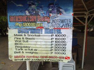 ダイビングやシュノーケリングの案内看板