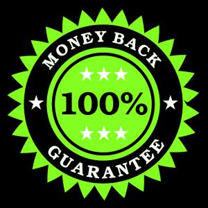 100%Money Back Guranteeと書かれたワッペン