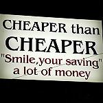 cheaper than cheaperと書かれた看板