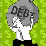 大きな負債の袋を抱えるサラリーマン