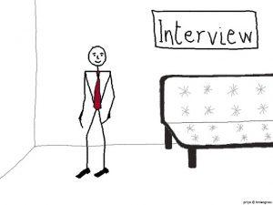 インタビューされるのを待つ青年の絵