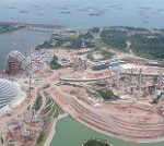 シンガポール湾岸の開発工事現場
