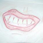 口を尖らせている人の絵