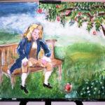 ニュートンとリンゴの絵