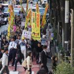 東京の毛皮反対デモ行進