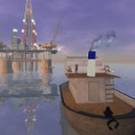 石油タンカーと採掘所の絵