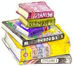 いろんな国の辞書が積み重ねられている