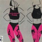 肉体トレーニングをする女性2人の絵