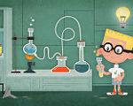 科学実験する学生の絵