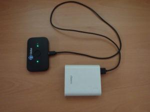 バッテリーチャージャーで充電中のポケットWifi