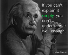 If you can't explain it simply, you don't understand it well enoughと書かれたアインシュタインの言葉と写真