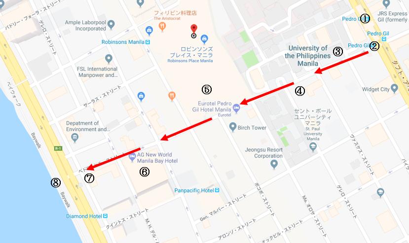 ペドロヒル駅からマニラ湾までの散歩ルートマップ
