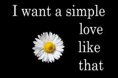 ヒナギクの写真にI want a simple love like thatと書かれている。