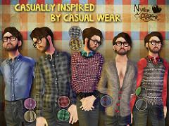 Casually inspired by casual wearと書かれた壁の前に立つカジュアルウェアの男性モデル