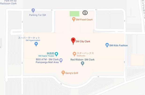 SMショッピングモールの店内地図とかつ空の位置