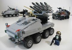 ミサイルシューティングカーと戦車のフィギュア