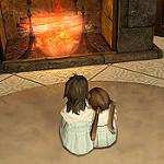 暖炉のそばに座る子供達