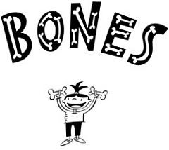 骨を両腕に持って掲げる少年のイラスト