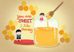 You are sweet like honeyと書かれたイラスト絵