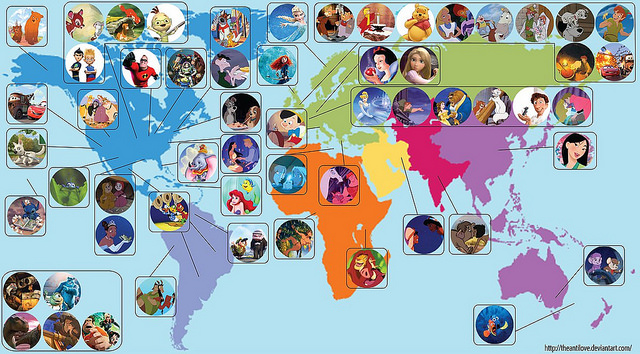 ディズニーのアニメキャラ、CGキャラの出身地を表す世界地図