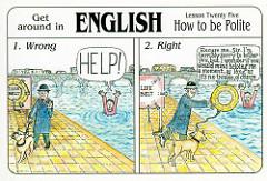 How to be politeと書かれた2枚のイラスト絵の対比