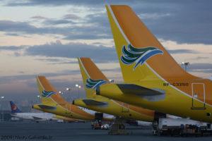 マニラ空港に並ぶセブパシフィック旅客機