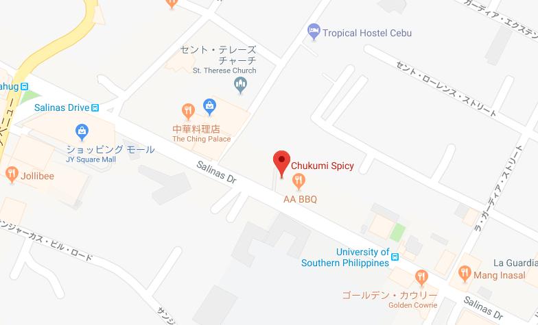 ツクミの場所を示すグーグルマップ