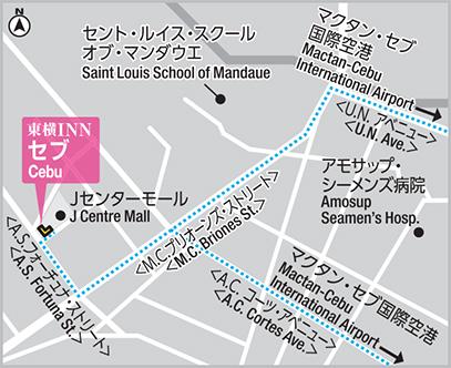 東横インセブの日本語マップ