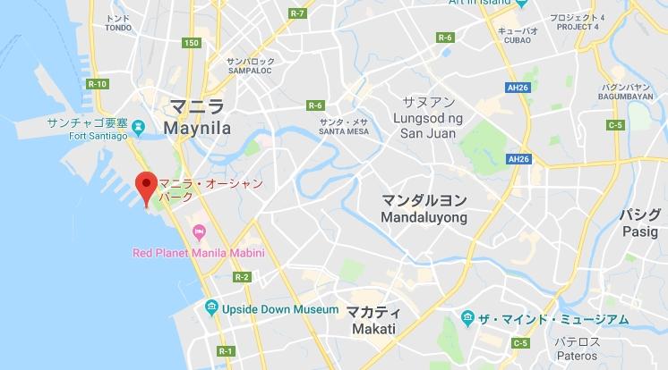 マニラオーシャンパークのグーグルマップ