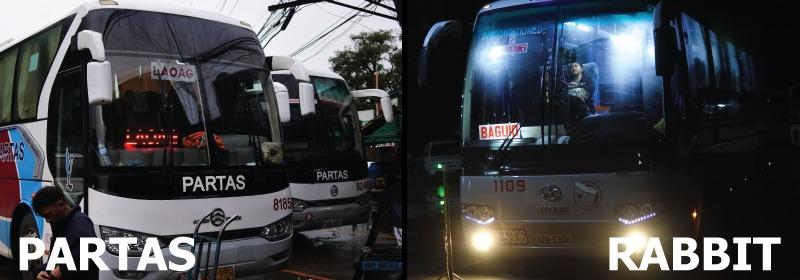 Partasバス(左)とRabbitバス(右)の写真