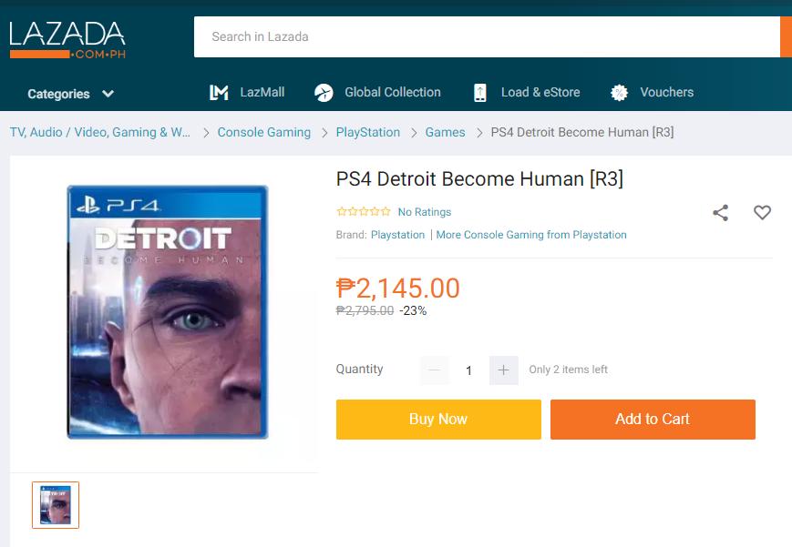 フィリピン最大手通販Lazadaで売られているゲームソフトデトロイト