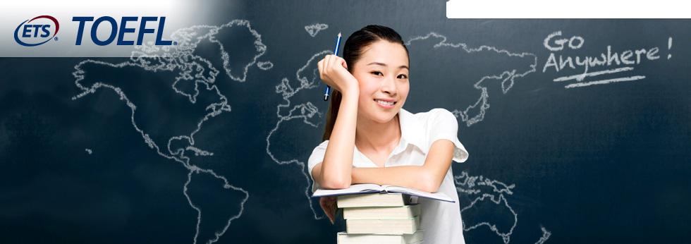 TOEFLのロゴと講師の写真