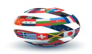 世界の国旗で作られた地球儀