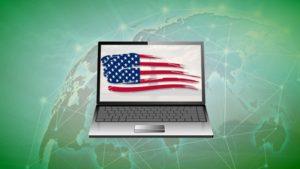 ノートブックの画面に彩られるアメリカ国旗
