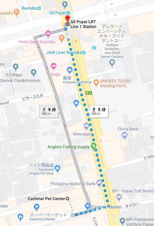 ヒルプヤット駅からカルティマール市場への道順を示したグルーグルマップ