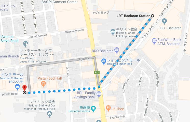 ビクトリーフードマーケットからバクララン駅までの道順を示すグーグルマップ