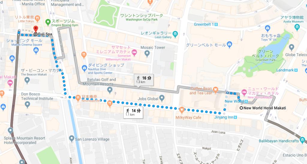 グリーンベルトからリトル東京までの道順を示すグーグルマップ