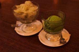 かき氷と抹茶アイス