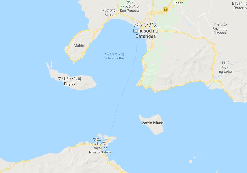 バタンガス、マリカバン島、プエルトガレラの位置を示すグーグルマップ