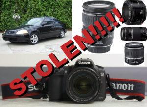 カメラ、レンズ、車の写真とStolenと書かれた文字