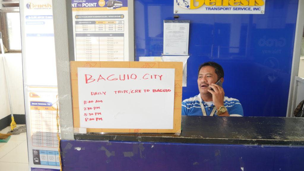 クラーク国際空港にあるバギオ直行日バスの切符売り場