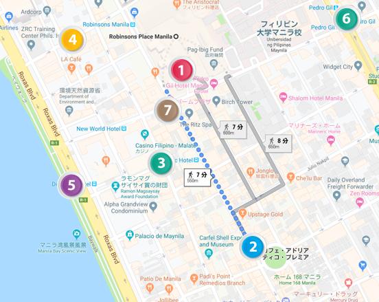 マラテ周辺のグーグルマップ