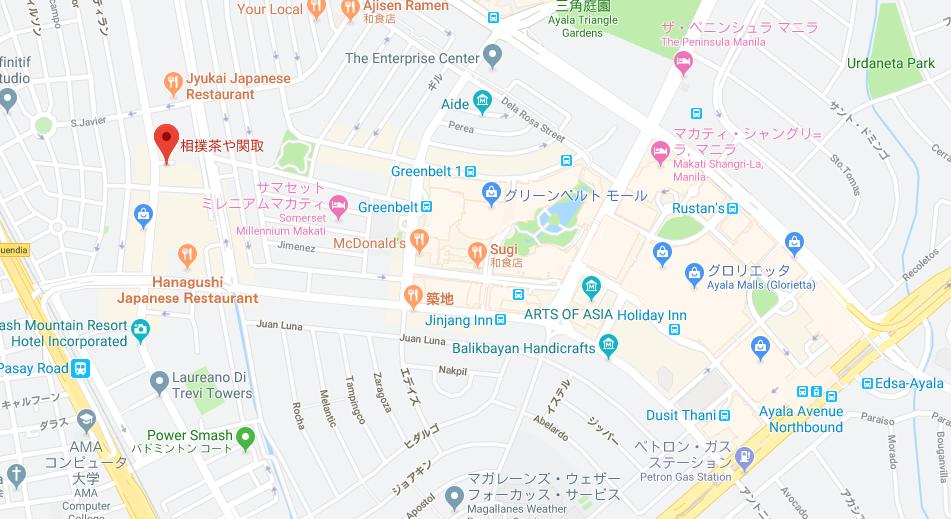 関取の位置を示すグーグルマップ