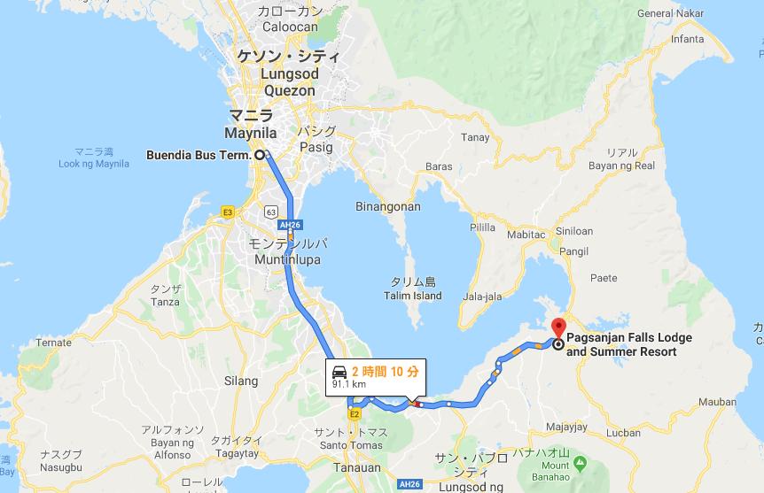 マニラのJac Liner Buendiaバスターミナルからパクサンハンまでのルートを示すグーグルマップ
