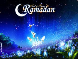 Ramadanというタイトルが入ったファンタスティックな夜空の絵