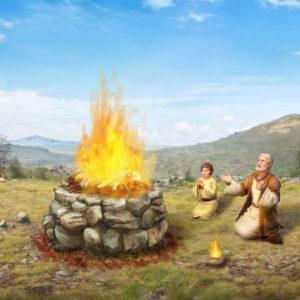 """神の命令に従い息子を炎の中に放り込もうとするアブラハムを描写する絵"""""""""""