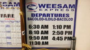 Weesam Expressの時刻表
